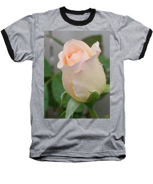 Baseball T-Shirt featuring the photograph Fragile Peach Rose Bud by Belinda Lee
