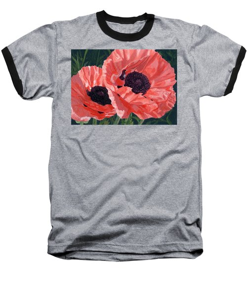 Baseball T-Shirt featuring the painting Peachy Poppies by Lynne Reichhart