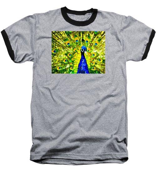 Peacock Abstract Realism Baseball T-Shirt