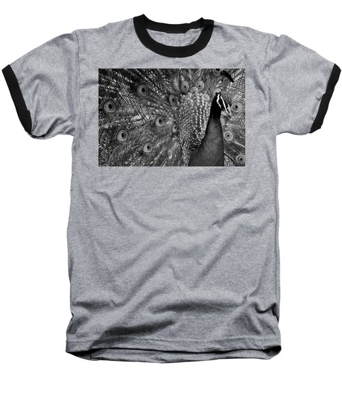 Baseball T-Shirt featuring the photograph Peacock Bw by Ron White