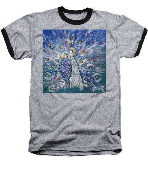 Peacock Dressed In White Baseball T-Shirt