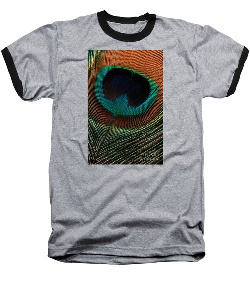 Baseball T-Shirt featuring the photograph Peacock Feather by Jerry Fornarotto