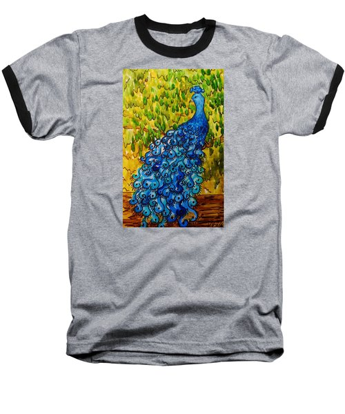 Baseball T-Shirt featuring the painting Peacock by Katherine Young-Beck