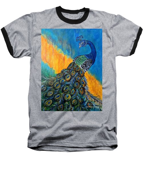 Baseball T-Shirt featuring the painting Peacock Waltz #3 by Ella Kaye Dickey