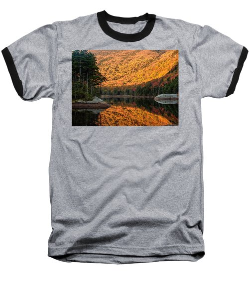 Baseball T-Shirt featuring the photograph Peak Fall Foliage On Beaver Pond by Jeff Folger