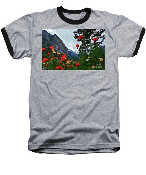 Peaks And Poppies Baseball T-Shirt