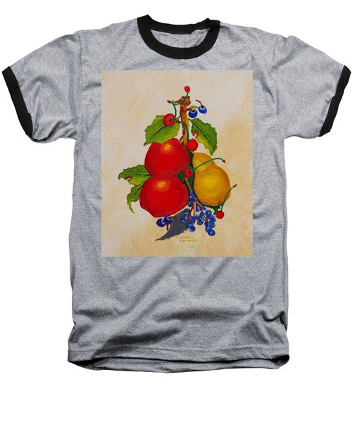 Baseball T-Shirt featuring the painting Pear And Apples by Johanna Bruwer