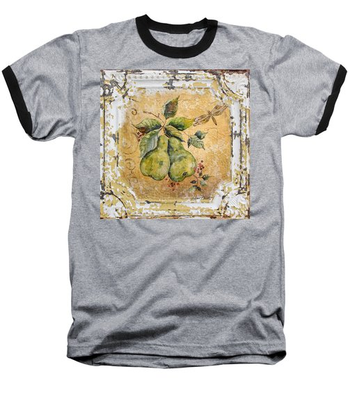 Pears And Dragonfly On Vintage Tin Baseball T-Shirt