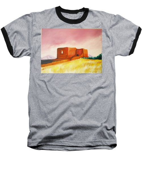 Baseball T-Shirt featuring the painting Pecos Mission Nm by Eric  Schiabor
