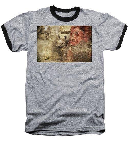Peek A Boo Rhino Baseball T-Shirt by Thomas Woolworth