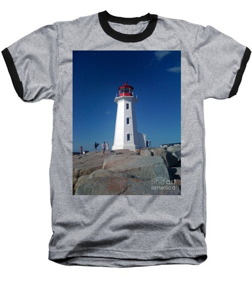 Peggy's Cove Lighthouse Baseball T-Shirt by Brenda Brown