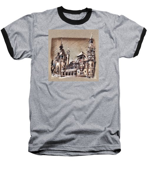 Peles Castle Romania Drawing Baseball T-Shirt