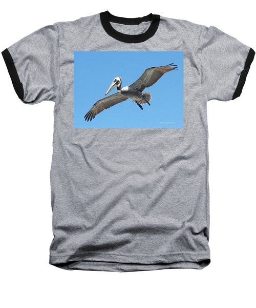 Baseball T-Shirt featuring the photograph Pelican Landing On  Pier by Tom Janca