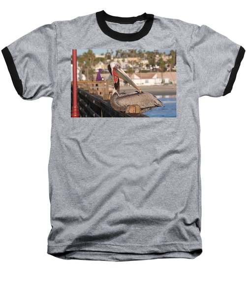 Pelican Sitting On Pier  Baseball T-Shirt