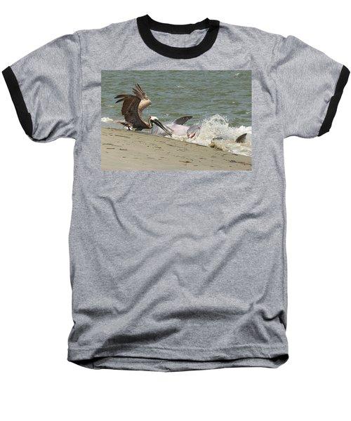 Pelican Steals The Fish Baseball T-Shirt