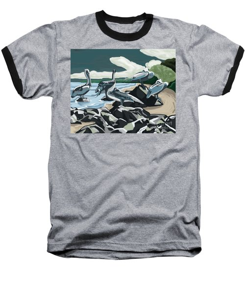 Baseball T-Shirt featuring the painting Pelicans And Friends At Seashore by Tim Gilliland