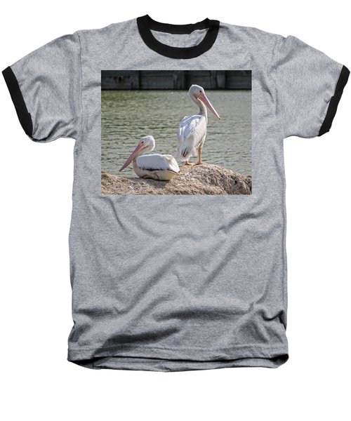 Baseball T-Shirt featuring the photograph Pelicans By The Pair by Ella Kaye Dickey