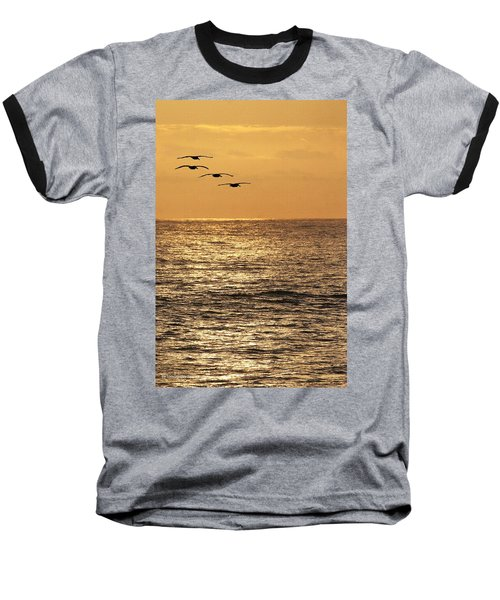 Baseball T-Shirt featuring the photograph Pelicans Ocean And Sunsetting by Tom Janca