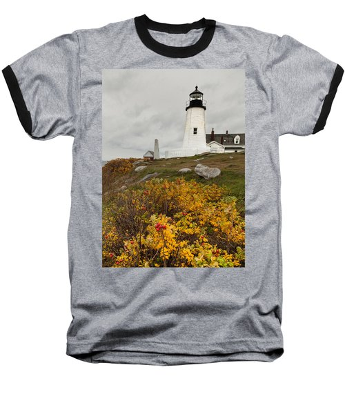 Pemaquid Point Lighthouse And Sea Roses Baseball T-Shirt