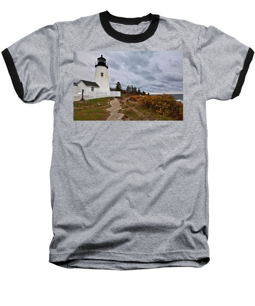 Stormy Autumn Day At Pemaquid Point Lighthouse Baseball T-Shirt
