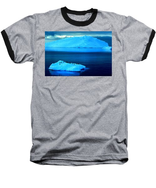 Penguins On Iceberg Baseball T-Shirt