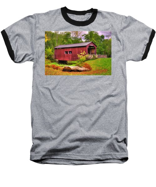 Pennsylvania Country Roads - Everhart Covered Bridge At Fort Hunter - Harrisburg Dauphin County Baseball T-Shirt