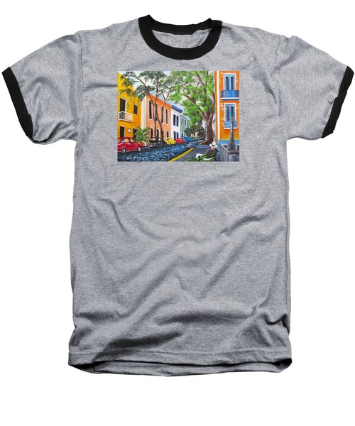 Pensando En El Viejo San Juan Baseball T-Shirt by Luis F Rodriguez