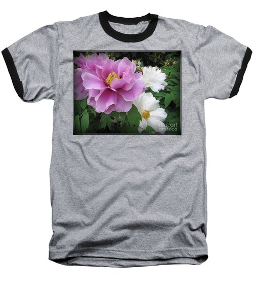 Peonies In White And Lavender Baseball T-Shirt