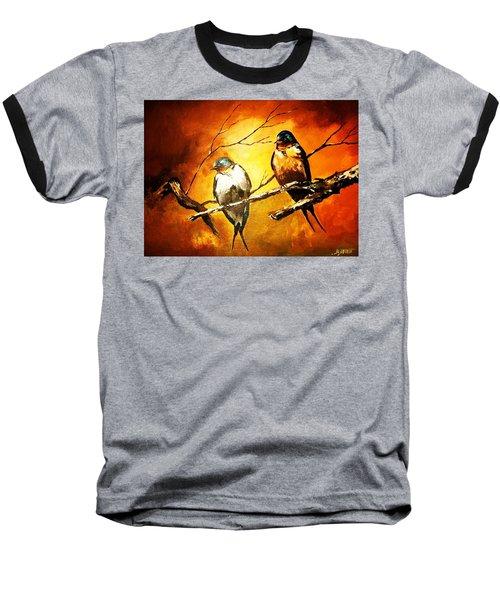 Perched Swallows Baseball T-Shirt