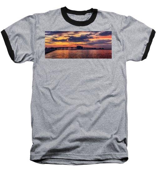 Perdido Bridge Sunrise Baseball T-Shirt by Michael Thomas