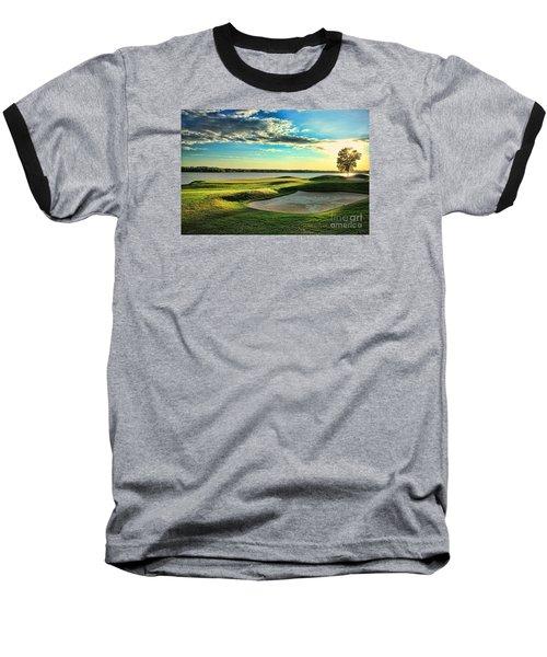 Perfect Golf Sunset Baseball T-Shirt by Reid Callaway