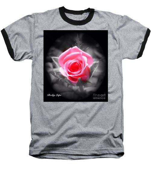 Perfect Rosebud In Black Baseball T-Shirt by Becky Lupe