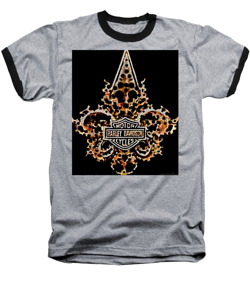 Baseball T-Shirt featuring the digital art Perforated Fleurs De Lys With Harley Davidson Logo by Danielle  Parent