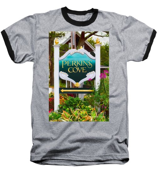 Perkins Cove Sign Baseball T-Shirt by Jerry Fornarotto