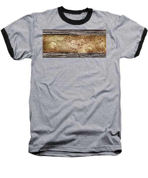 Petroglyph - Ensemble Of Red Dots And Short Strokes - Prehistoric Art - The Plains - Prarie Country Baseball T-Shirt