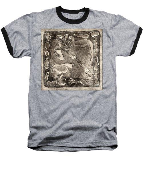 Petroglyph - Horse Takhi And Stones - Prehistoric Art - Cave Art - Rock Art - Cave Painters Baseball T-Shirt