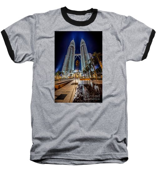 Petronas Twin Towers Baseball T-Shirt by Adrian Evans