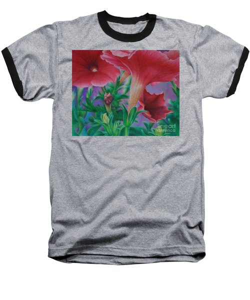 Baseball T-Shirt featuring the painting Petunia Skies by Pamela Clements