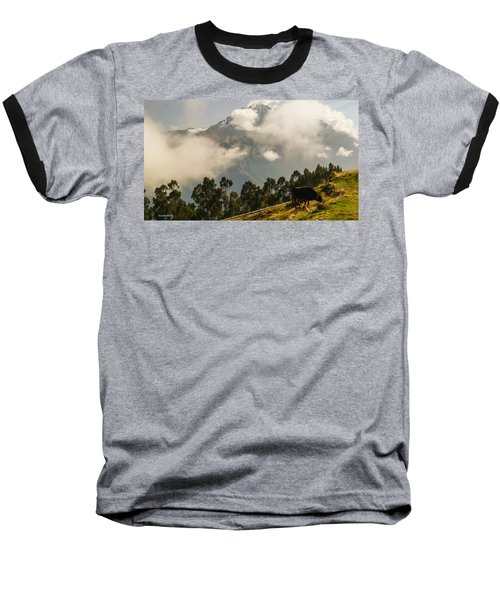 Peru Mountains With Cow Baseball T-Shirt