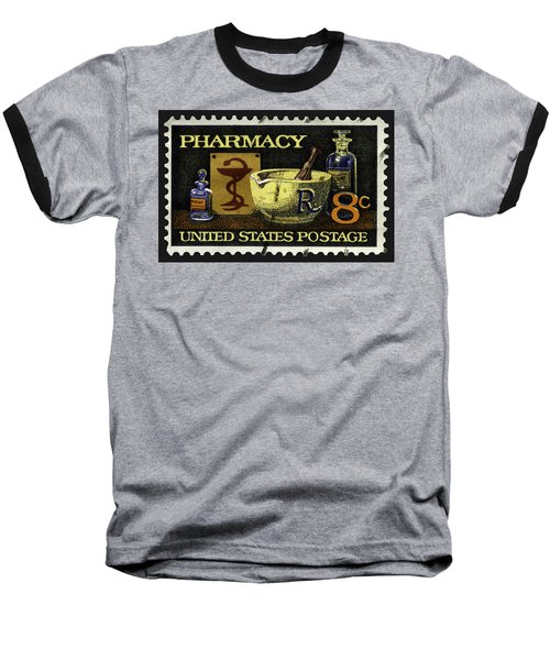 Pharmacy Stamp With Bowl Of Hygeia Baseball T-Shirt by Phil Cardamone