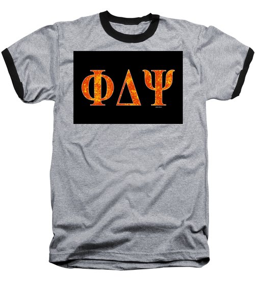 Baseball T-Shirt featuring the digital art Phi Delta Psi - Black by Stephen Younts