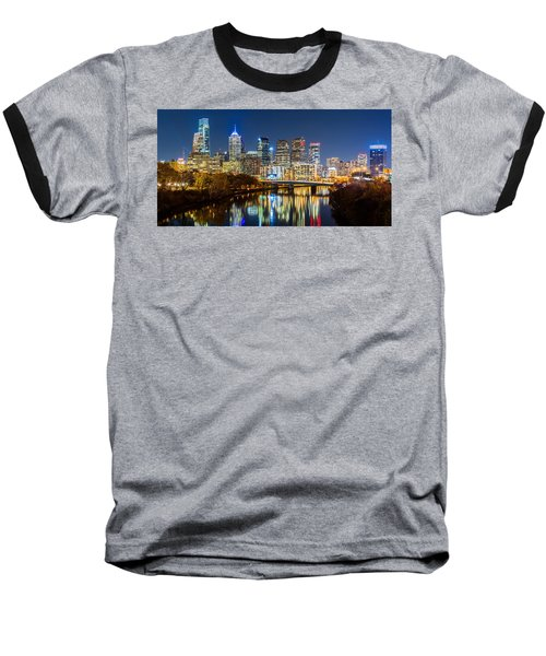 Philadelphia Cityscape Panorama By Night Baseball T-Shirt