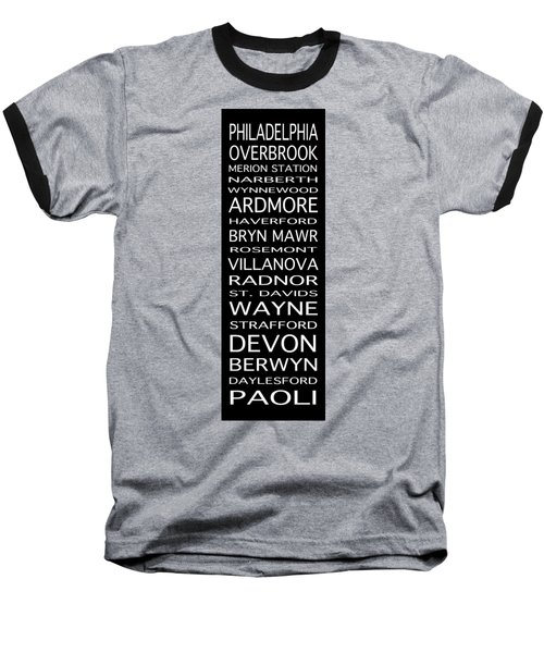 Philadelphia Main Line Train Scroll Baseball T-Shirt by Lou Ford