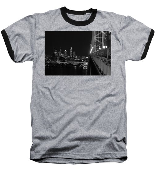 Philadelphia Night B/w Baseball T-Shirt by Jennifer Ancker
