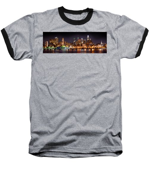 Philadelphia Philly Skyline At Night From East Color Baseball T-Shirt by Jon Holiday