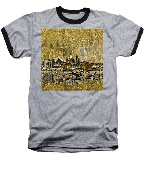 Philadelphia Skyline Abstract 3 Baseball T-Shirt