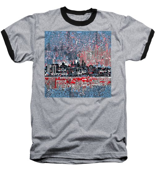 Philadelphia Skyline Abstract Baseball T-Shirt