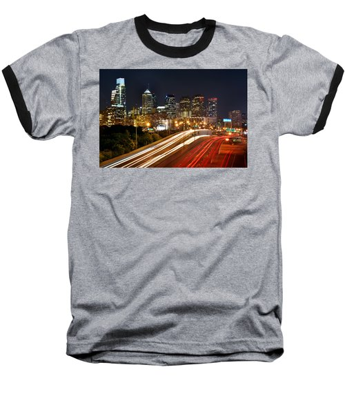 Philadelphia Skyline At Night In Color Car Light Trails Baseball T-Shirt by Jon Holiday