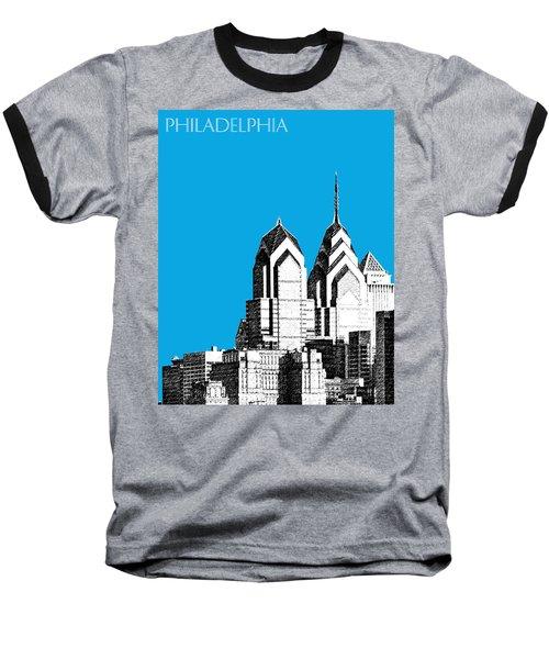 Philadelphia Skyline Liberty Place 1 - Ice Blue Baseball T-Shirt
