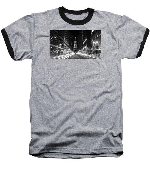Philadephia City Hall -- Black And White Baseball T-Shirt by Stephen Stookey